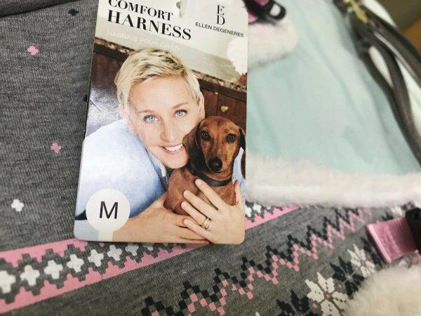 ED Ellen DeGeneres Winter Set Harness Gray Dress Pink Ruffles Leash Collar Love