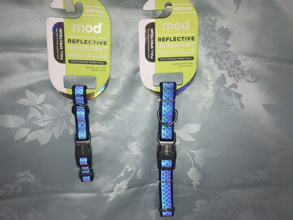 Mod Reflective Iridescent Dog Collar Blue by Mod w. Padded Inner Wall