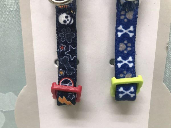 Adjustable Dog Collar Set (2 collars) Blue & Navy Blue Pirate Paws by Simply Wag