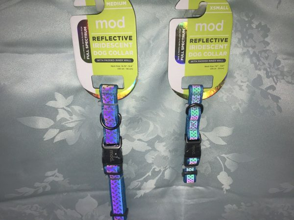 Mod Reflective Iridescent Dog Collar Aqua by Mod w. Padded Inner Wall