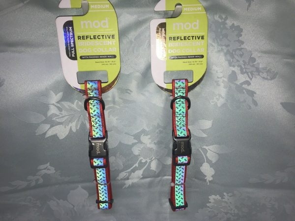 Mod Reflective Iridescent Dog Collar Red by Mod w. Padded Inner Wall